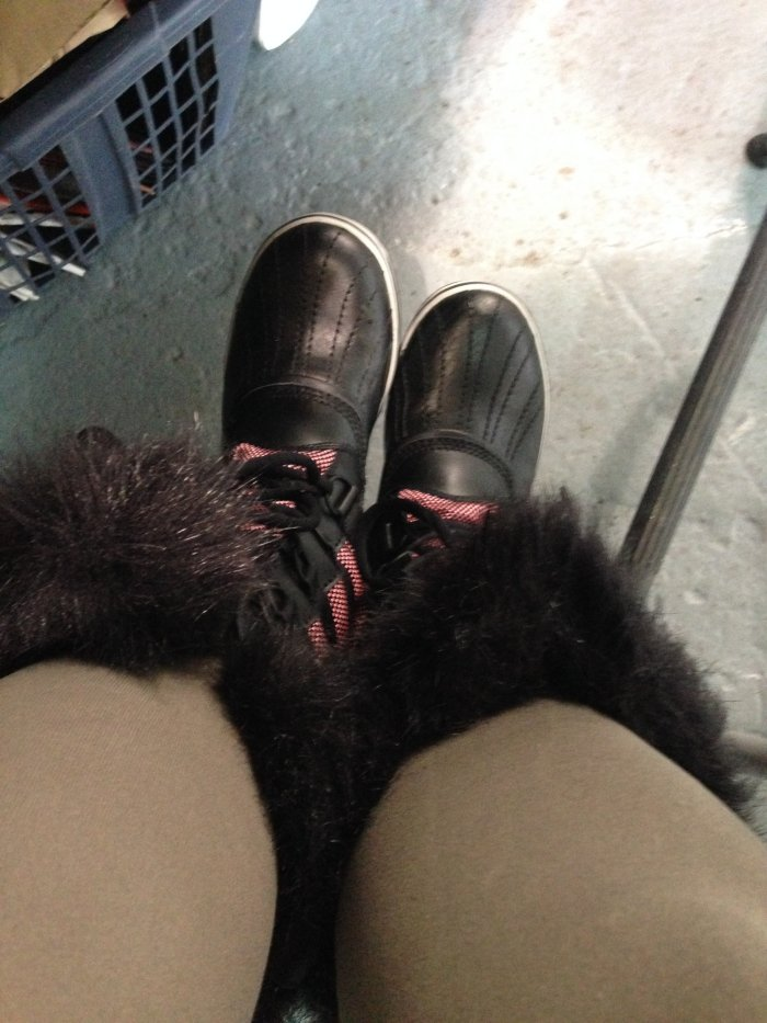 Beginning to look like I fit in a little...thankfully my sister sent me Sorel's for my birthday, I would not have made it through the snow and ice in Brooklyn without them..
