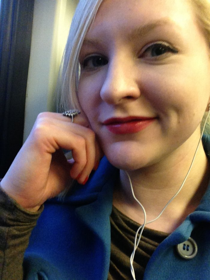 My lame smiley self on the train ride home the day I formally met Josh...