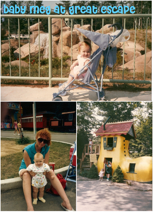 my first trips to Great Escape. from bottom left my chubby leg self with my mother and bottom right my sister and I exiting the shoe